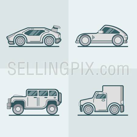 Sportscar supercar jeep SUV van lineart line art road transport set. Linear multicolor stroke outline flat style vector icons. Monochrome color icon collection.