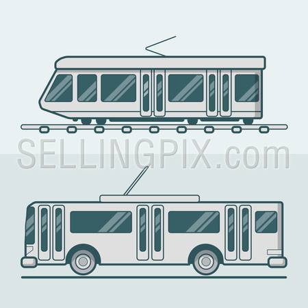 Tram tramway trolley trolleybus road rail electric eco friendly line art lineart transport set. Linear multicolor stroke outline flat style vector icons. Color icon collection.