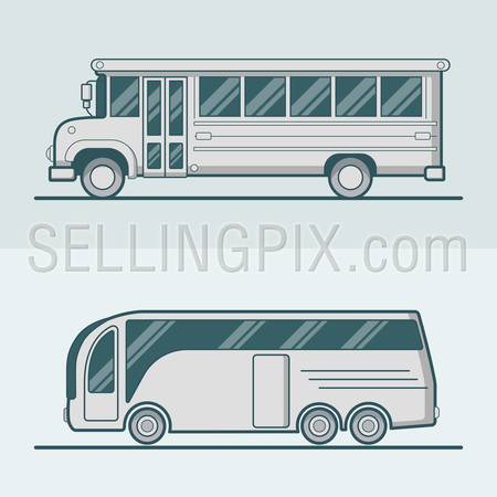 Bus school tourist intracity schoolbus lineart line art road transport set. Linear multicolor stroke outline flat style vector icons. Color icon collection.