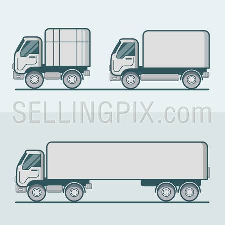 Truck lorry van road transport set. Linear multicolor stroke outline flat style vector icons. Color icon collection.