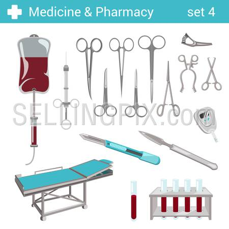 Flat style medical pharmaceutical hospital equipment scissors, ?scalpel icon set. Medicine pharmacy collection.