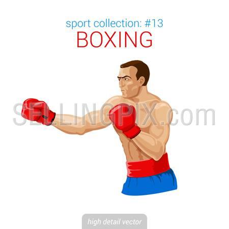 Sportsmen vector collection. Boxer man gloves kick boxing fight. Sportsman high detail illustration.
