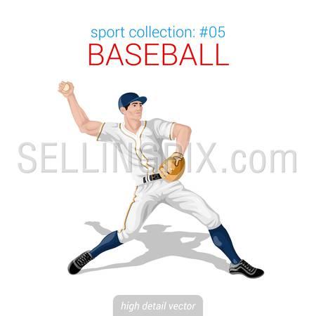 Sportsmen vector collection. Baseball pitcher infielder. Sportsman high detail illustration.