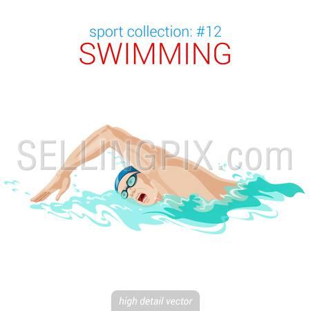 Sportsmen vector collection. Swimmer man crawl stroke pool competition. Sportsman high detail illustration.