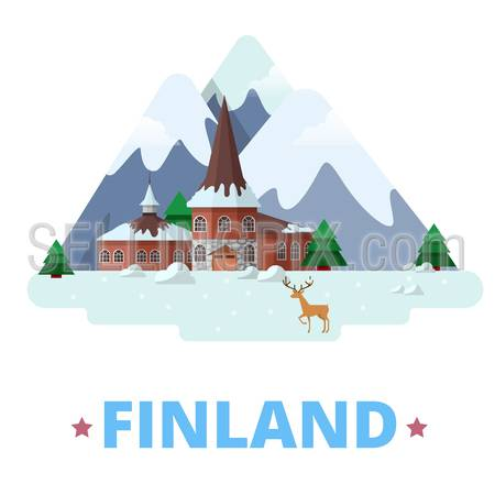 Finland country magnet design template. Flat cartoon style historic sight showplace web site vector illustration. World vacation travel Europe European collection. Santa Claus Village Residence.