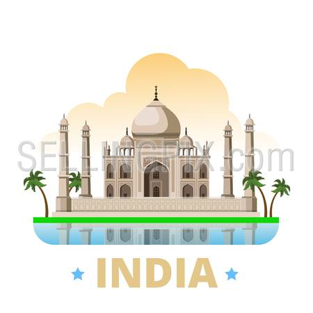India country magnet design template. Flat cartoon style historic sight showplace web site vector illustration. World vacation travel sightseeing Asia Asian collection. Taj Mahal mausoleum in Agra.