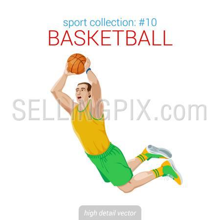Sportsmen vector collection. Basketball player slam dunk jam jump. Sportsman high detail illustration.
