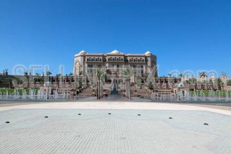 Majestic arabian palace and round square in the front
