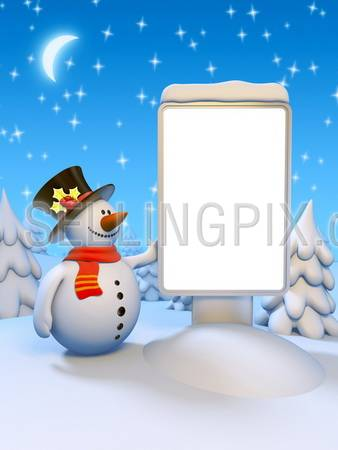 Funny snowman standing by the blank citylight. Beautiful snowy forest, moon and starry winter sky. Copyspace to place your greetings text, logo or photo.