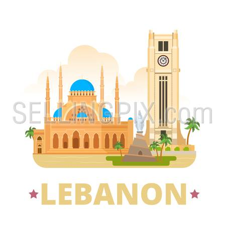 Lebanon country design template. Flat cartoon style historic web site vector illustration. World travel sightseeing Asia collection. Beirut Clock Tower Mohammad Al-Amin Mosque Our Lady Statue Monument
