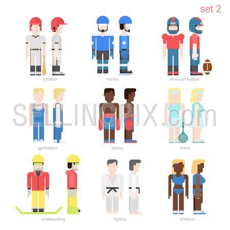 Flat style sportsmen people vector icon set. Baseball batter, hockey, football, tennis player, boxer, skateboarder, karate fighter, athlete. Flat sportsman people collection.