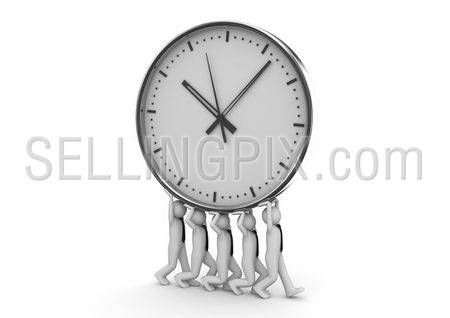 Time is money. Five men carry big clock. Business collection.