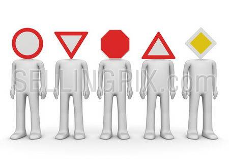 Five road signs on the characters' heads. Concept of the rules of the road execution.