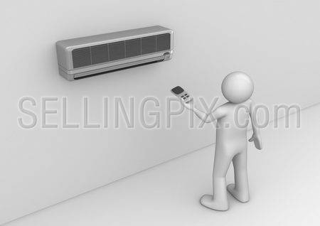 Air-conditioner user. Man holding cooler remote control. Electronics collection.