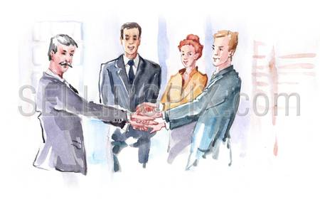 Watercolor paining business people teamwork concept. High resolution watercolors collection.