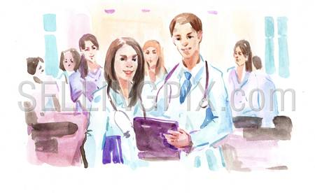 Watercolor paining portrait of female and male doctors in hospital.  High resolution watercolors collection.