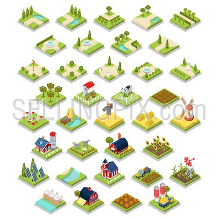 Flat 3d isometric isometry vector set countryside infographics farm building object tool equipment. Country side barn warehouse storage shop tractor windmill cow garden field grow harvest stack hay.