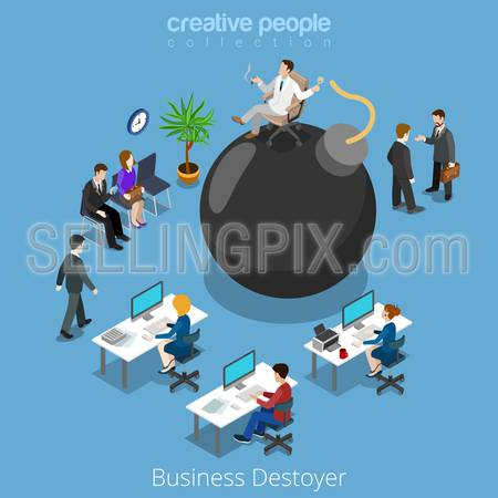 Isometric business destroyer destroy businessman flat 3d isometry vector illustration concept. Office people plankton boss on bomb manager negotiation waiting meeting. Creative people collection.