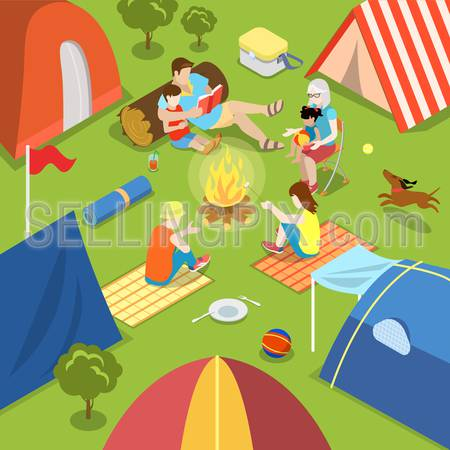 Isometric outdoor camping bonfire picnic family lifestyle time spending concept. Flat 3d isometry parents children tent fire place dog daughter son father mother. Creative people collection.