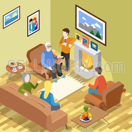 Isometric family home pastime fireplace coffee time spending relax vector concept. Flat 3d isometry parents children daughter son father mother. Creative people collection.