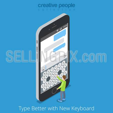Isometric Custom Virtual Keyboard. Better Touch Screen Mobile Phone Tablet Typing concept. Flat 3d isometry big smartphone and micro man type message chat. Creative people collection.