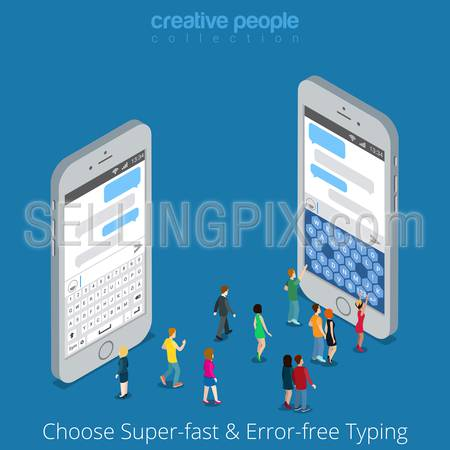 Isometric Custom Virtual Keyboard Choice. Classic vs Modern Touch Screen Mobile Phone Tablet Typing concept. Flat 3d isometry big smartphone micro people type message chat. Creative people collection
