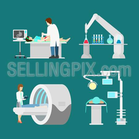 MRI US ultrasonic ultrasonography magnetic resonance imaging. Flat style hospital profession specialist concept vector people icon set hospital patient checkup doc nurse. Creative people collection.