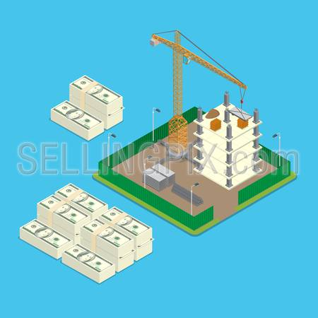 Isometric construction site land price value investment business infographics template concept. Big money stacks around paled building place crane. Flat 3d isometry web conceptual vector illustration.