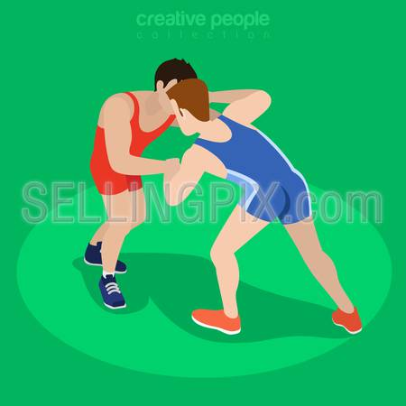 Isometric freestyle wrestling fight sports concept. Flat 3d isometry web site conceptual vector illustration. Creative people collection.