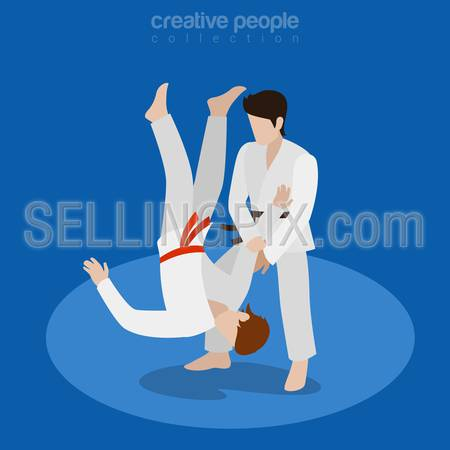 Isometric karate fight sports concept. Flat 3d isometry web site conceptual vector illustration. Creative people collection.