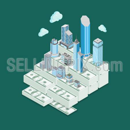 Isometric real estate realty price value investment business infographics template concept. Money skyscraper residential commercial municipal townhouse buildings. Flat 3d isometry vector illustration.