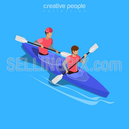 Isometric kayakers rafting sports concept. Flat 3d isometry web site conceptual vector illustration. Creative people collection.