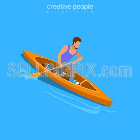 Life challenge concept. Isometric kayaker rafting raft sports. Flat 3d isometry web site conceptual vector illustration. Creative people collection.