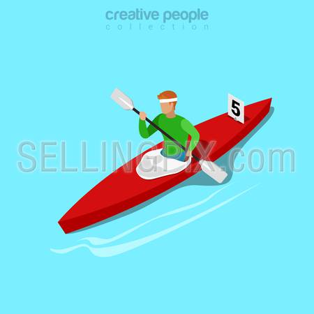 Isometric kayaker rowing sports concept. Flat 3d isometry web site conceptual vector illustration. Creative people collection.