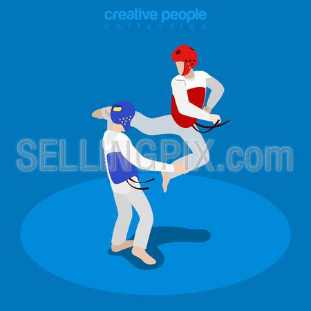 Isometric wrestling fight championship sports concept. Flat 3d isometry web site conceptual vector illustration. Creative people collection.