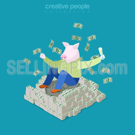 Isometric business Rich pig concept. Fat man with piggy head on heap of dollar money. Flat 3d isometry web site conceptual vector illustration. Creative people collection.