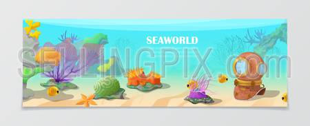 Sea world underwater life nature natural beauty template. Time to travel vacation agency web site flyer brochure vector illustration. Fish antic wetsuit under water seaweed color crown background.