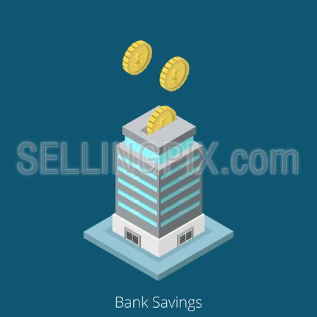 Isometric Bank Savings business concept. Flat 3d isometry web site conceptual vector illustration. Creative people collection. Banking security safety money box guarantees fund coins building.
