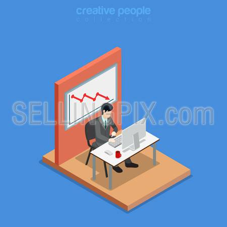 Isometric business concept flat 3d isometry web site conceptual vector illustration. Creative people collection. Office businessman work table monitor chair graphic falling board wall unsuccessful.