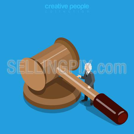 Isometric justice business concept. Micro man judge in periwig with huge hammer. Flat 3d isometry web site conceptual vector illustration. Creative people collection.