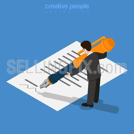 Isometric business concept. Micro office worker man sign approve by printed document huge ink pen. Flat 3d isometry web site conceptual vector illustration. Creative people collection.