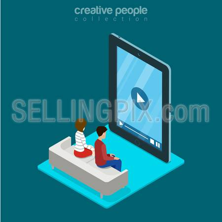 Isometric man and woman sitting freeze zombie watching video on huge smartphone phone tablet advertising concept. Flat 3d isometry web site conceptual vector illustration. Creative people collection.