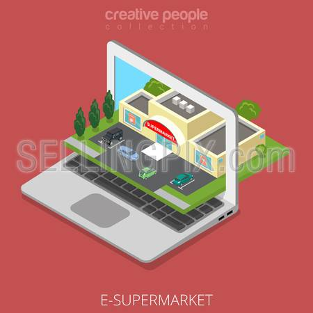 Isometric E-supermarket shop business concept. Flat 3d isometry web site conceptual vector illustration. Creative people collection. Shopping on-line market laptop screen cars nature parking building.