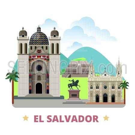 El Salvador country badge fridge magnet design template. Flat cartoon style historic sight showplace web site vector illustration. World vacation travel sightseeing North America collection.
