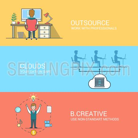 Outsourcing cloud data storage creativity linear flat icon set. Business technology creative line art concept. Website banner infographics design web elements vector illustration. Lineart people.