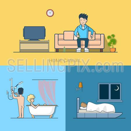 Linear line art people leisure home casual tv beer bathroom bedroom sleep couple. Lifestyle concept flat icons set. Website click banner infographics design web elements vector illustration.