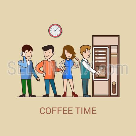 Linear line art business coffee break cartoon concept flat icon. Turn line office stuff people before coffee vending machine. Website click banner infographics design web elements vector illustration.