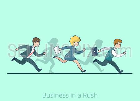 Linear line art flat style Business in a Rush Hurry cartoon concept. Businessman businesswoman run running competition be late vector illustration. Lineart people collection.