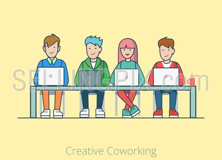 Linear line art coworking flat web infographic concept vector. Co-working cartoon quartet four people table laptops. Office agency work process teamwork brainstorming. Creative people collection.