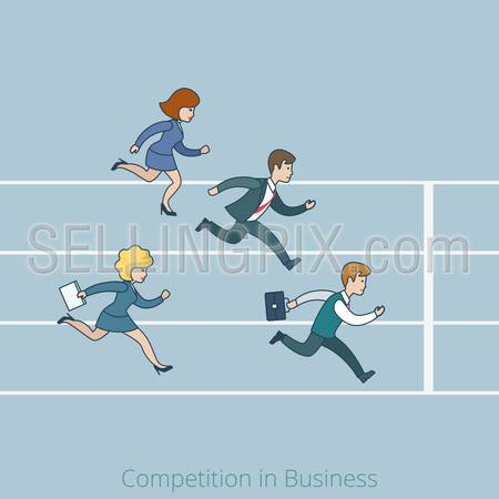Linear line art flat style Competition in Business finish line concept. Cartoon businessman businesswoman run running competition stadium track be late vector illustration. Lineart people collection.